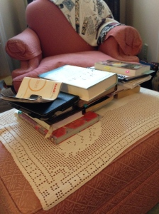 The reading chair stool. It grows more precarious by the day. Do you have places in your house like this?